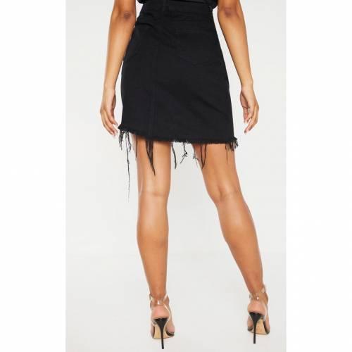 4FASHION デニム レディースファッション ボトムス スカート 【 Prettylittlething Tall Frayed Hem Asymmetric Denim Skirt 】 Black