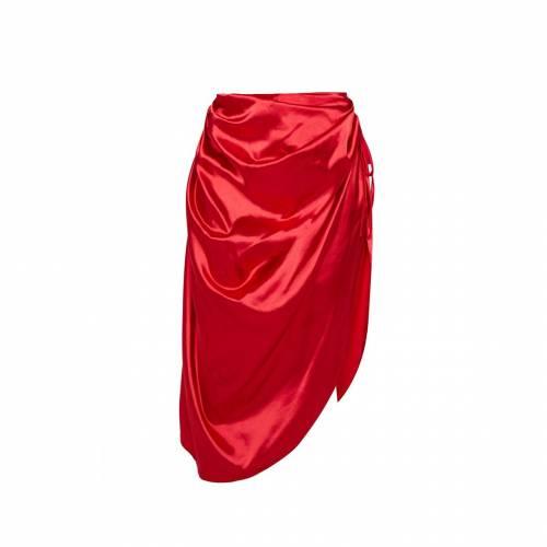 4FASHION 赤 レッド 【 RED RUCHED TIE SIDE MIDI SKIRT 】 レディースファッション ボトムス スカート