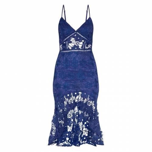PURE ピュア ドレス 青 ブルー 【 BLUE PURE PRETTYLITTLETHING LACE STRAPPY FRILL HEM MIDI DRESS MIDNIGHT 】 レディースファッション ドレス