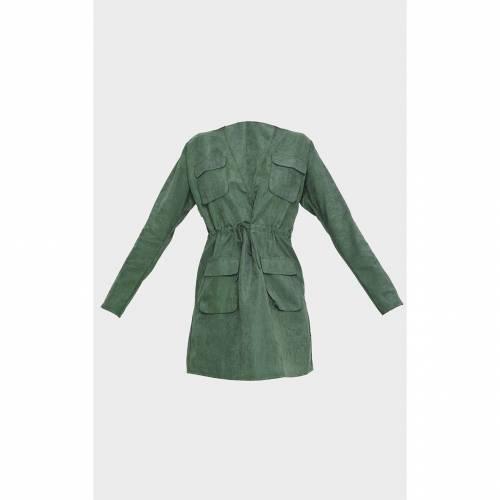 4FASHION ドレス カーキ 【 4FASHION PRETTYLITTLETHING POCKET DETAIL TIE WAIST UTILITY DRESS KHAKI 】 レディースファッション ドレス
