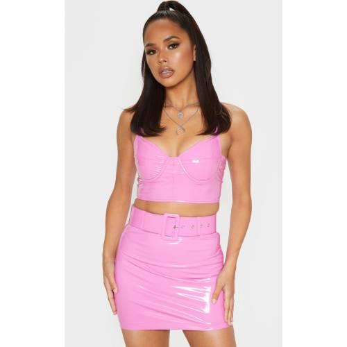 MOGU ビニール ベルト レディースファッション ボトムス スカート 【 Prettylittlething Vinyl Belt Detail Mini Skirt 】 Hot Pink