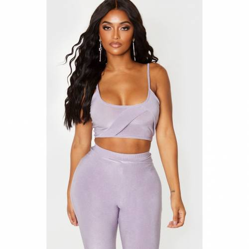 SYZE クロップ 【 CROP SHAPE LILAC GLITTER PANELLED STRAPPY TOP 】 レディースファッション トップス 送料無料