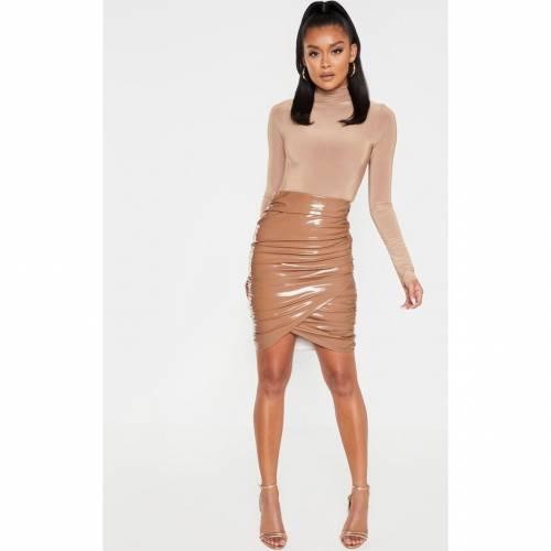 CTG_CLOT ビニール ラップ レディースファッション ボトムス スカート 【 Prettylittlething Vinyl Ruched Wrap Mini Skirt 】 Stone