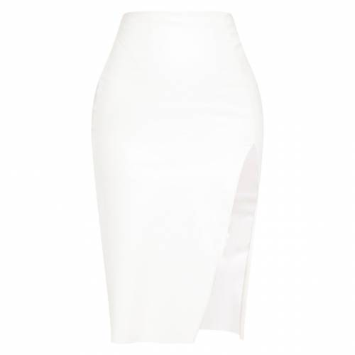 SOPHIAD 白 ホワイト レザー 【 WHITE FAUX LEATHER EXTREME SPLIT MIDI SKIRT 】 レディースファッション ボトムス スカート