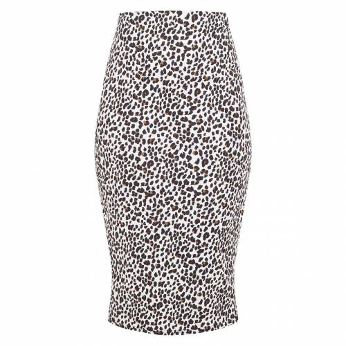 REALCAT レディースファッション ボトムス スカート 【 Prettylittlething Leopard Print Rib Midi Skirt 】 White