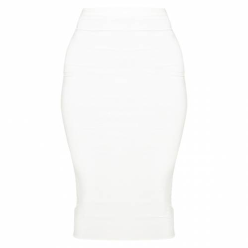 AMBREDES 白 ホワイト 【 WHITE SECOND SKIN SLINKY MIDI SKIRT 】 レディースファッション ボトムス スカート