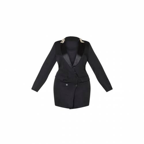 4FASHION ブレーザー ブレイザー ドレス 【 Prettylittlething Plus Embroidered Collar Blazer Dress 】 Black