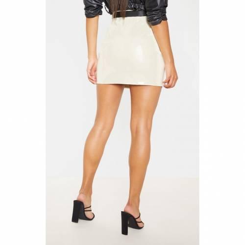 4FASHION ビニール 【 ECRU VINYL ZIP FRONT BELTED MINI SKIRT 】 レディースファッション ボトムス スカート