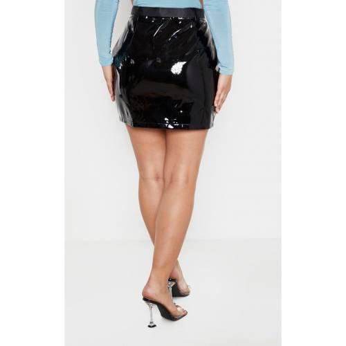 4FASHION ビニール 【 ECRU VINYL ZIP FRONT BELTED MINI SKIRT BLACK 】 レディースファッション ボトムス スカート