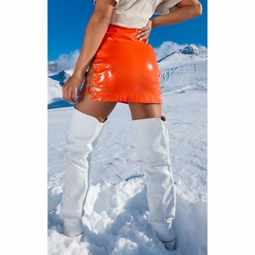 4FASHION ビニール 【 STONE VINYL LACE UP SIDE MINI SKIRT NEON ORANGE 】 レディースファッション ボトムス スカート