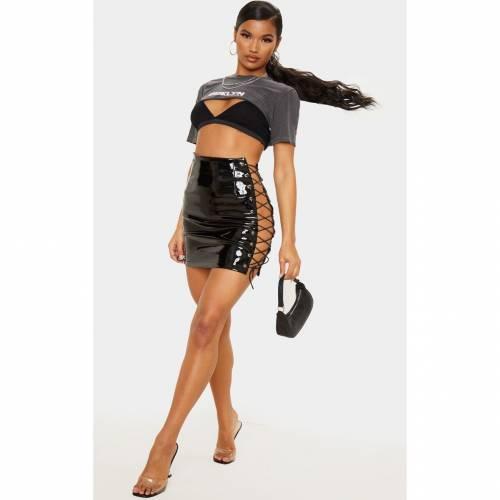 4FASHION ビニール 【 STONE VINYL LACE UP SIDE MINI SKIRT BLACK 】 レディースファッション ボトムス スカート