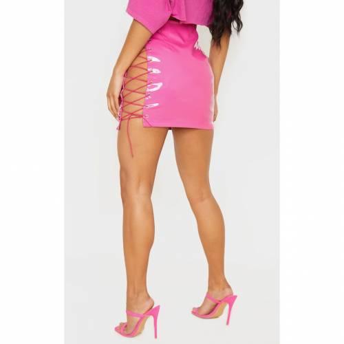 4FASHION ビニール 【 STONE VINYL LACE UP SIDE MINI SKIRT HOT PINK 】 レディースファッション ボトムス スカート