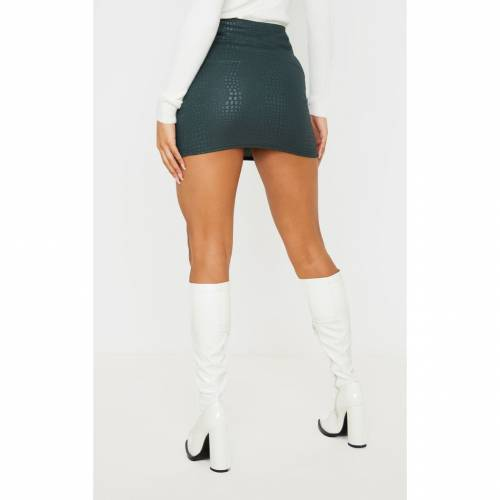 FASH 【 STONE CROC PRINT BODYCON MINI SKIRT DARK GREEN 】 レディースファッション ボトムス スカート