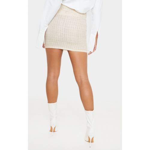 R_FAMOUS レディースファッション ボトムス スカート 【 Prettylittlething Tweed Button Detail Mini Skirt 】 Stone