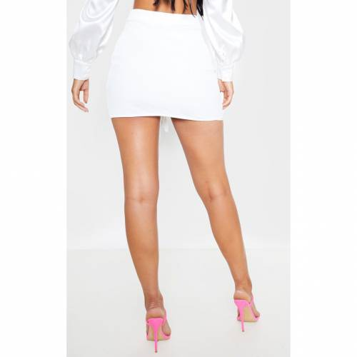 RAW レディースファッション ボトムス スカート 【 Prettylittlething Mesh Ruched Front Mini Skirt 】 White