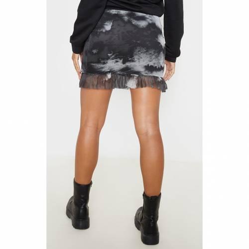 FASHIONM レディースファッション ボトムス スカート 【 Prettylittlething Mesh Tie Dye Frill Hem Mini Skirt 】 Black