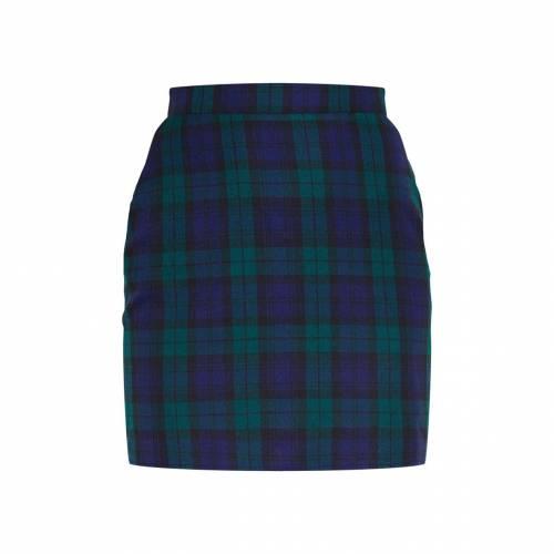 ASK__TRA ウーブン レディースファッション ボトムス スカート 【 Prettylittlething Check Woven Mini Skirt 】 Navy