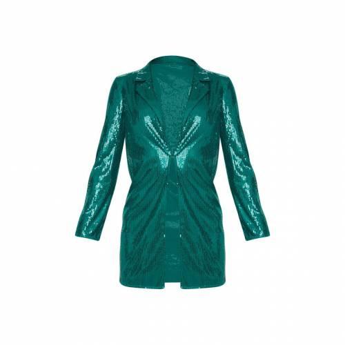 【スーパーセール中! 6/11深夜2時迄】4FASHION ブレーザー ブレイザー 【 Prettylittlething Tall Sequin Longline Blazer 】 Emerald Green