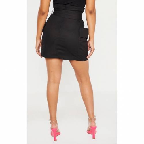 R_FAMOUS カーゴ レディースファッション ボトムス スカート 【 Prettylittlething Petite Belted Cargo Skirt 】 Black