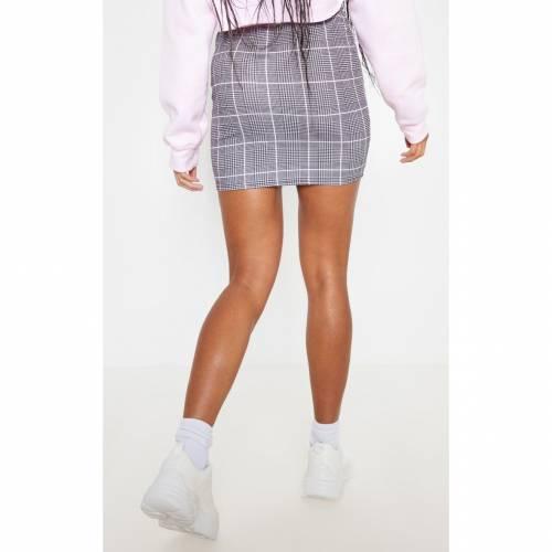 PANAMAFA 【 STONE CHECK MINI SKIRT GREY 】 レディースファッション ボトムス スカート