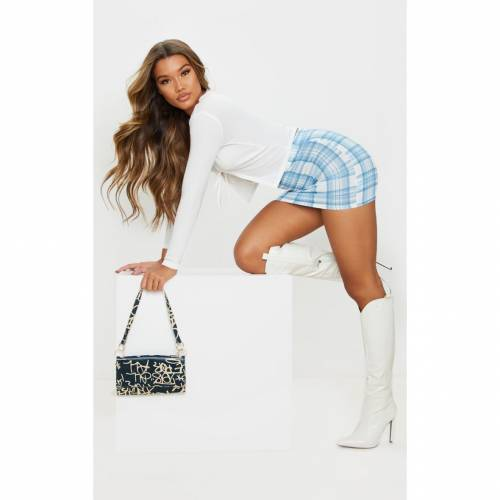 PANAMAFA 【 STONE CHECK MINI SKIRT BLUE 】 レディースファッション ボトムス スカート