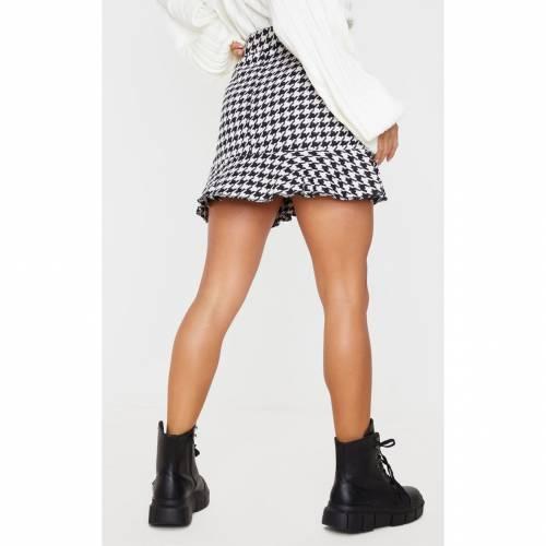 TARAL レディースファッション ボトムス スカート 【 Prettylittlething Petite Flippy Hem Dogtooth Zip Mini Skirt 】 Cream
