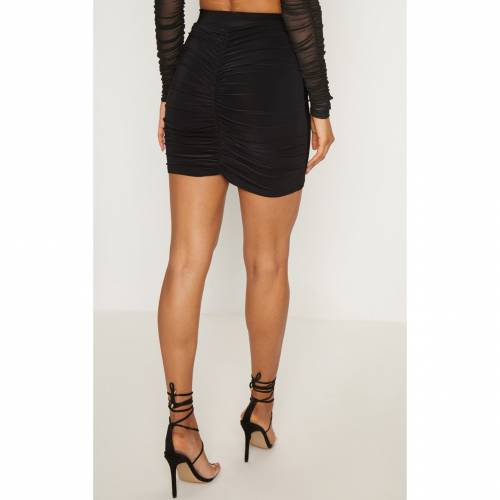 FASH 【 TEAL RUCHED SEAM DETAIL MINI SKIRT BLACK 】 レディースファッション ボトムス スカート