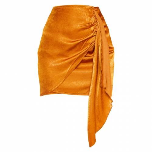 4FASHION チャコール サテン ラップ 【 WRAP CHARCOAL SATIN TIE DETAIL MINI SKIRT RUST 】 レディースファッション ボトムス スカート