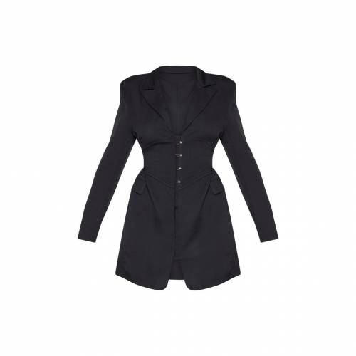 4FASHION ブレーザー ブレイザー ドレス 【 Prettylittlething Pin Detail Corset Blazer Dress 】 Black