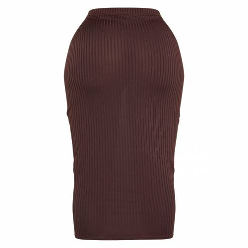 PASSIOND ハイ レディースファッション ボトムス スカート 【 Prettylittlething Shape Ribbed High Waist Midi Skirt 】 Chocolate Brown