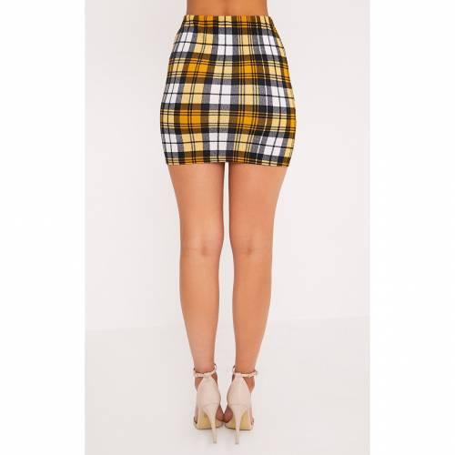 FASH 【 TARTAN CHECK PRINT MINI SKIRT YELLOW 】 レディースファッション ボトムス スカート