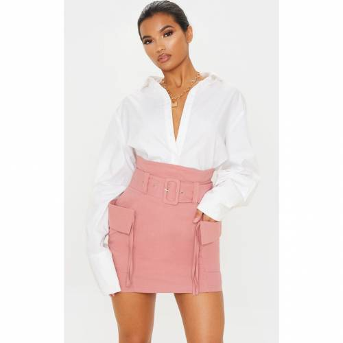 R_FAMOUS カーゴ レディースファッション ボトムス スカート 【 Prettylittlething Belted Pocket Detail Cargo Mini Skirt 】 Dusty Rose