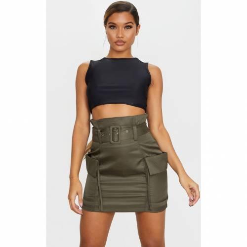 R_FAMOUS カーゴ レディースファッション ボトムス スカート 【 Prettylittlething Belted Pocket Detail Cargo Mini Skirt 】 Khaki