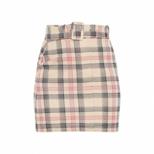 CTG_CLOT レディースファッション ボトムス スカート 【 Prettylittlething Check Belted Mini Skirt 】 Stone