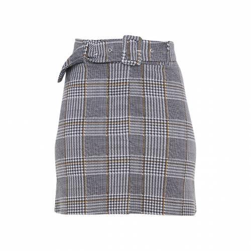 CTG_CLOT レディースファッション ボトムス スカート 【 Prettylittlething Check Belted Mini Skirt 】 Grey