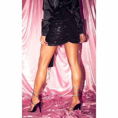 R_FAMOUS ローズ 【 ROSE GOLD SEQUIN RUCHED MINI SKIRT BLACK 】 レディースファッション ボトムス スカート
