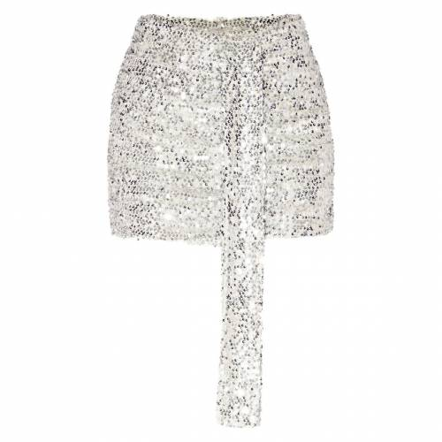 R_FAMOUS ローズ 【 ROSE GOLD SEQUIN RUCHED MINI SKIRT SILVER 】 レディースファッション ボトムス スカート