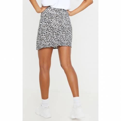 REALCAT レディースファッション ボトムス スカート 【 Prettylittlething Leopard Print Rib Split Front Mini Skirt 】 White