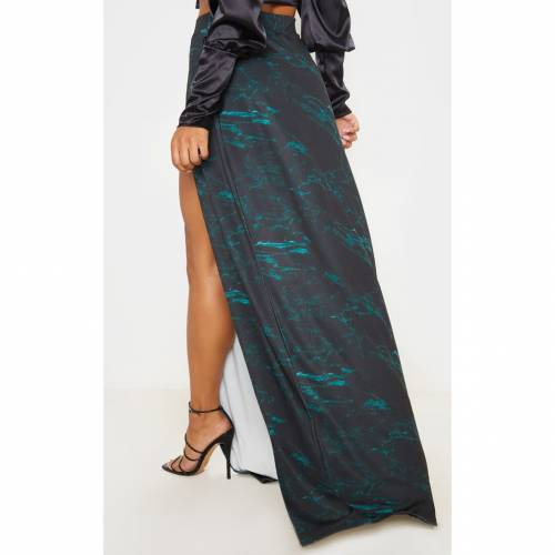 MINEANDY 【 TEAL MARBLE PRINT DOUBLE SPLIT MAXI SKIRT BLACK 】 レディースファッション ボトムス スカート