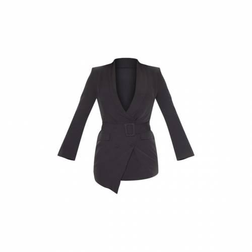 UNIQUE21 ベルト ブレーザー ブレイザー ドレス 【 Prettylittlething Belt Blazer Dress 】 Black