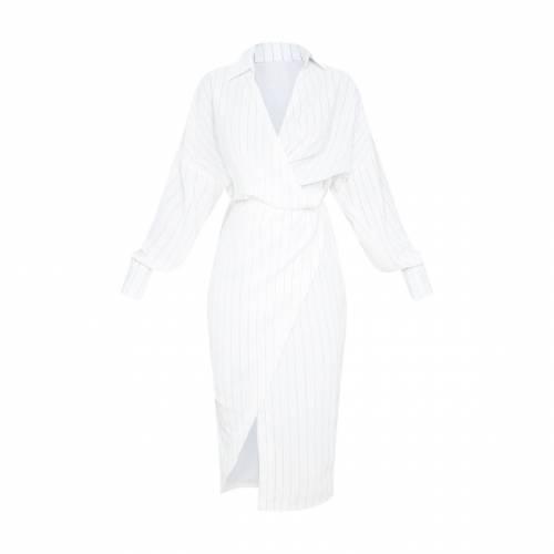 ANIL ドレス 白 ホワイト 【 WHITE ANIL PRETTYLITTLETHING PINSTRIPE MIDI SHIRT DRESS 】 レディースファッション ドレス