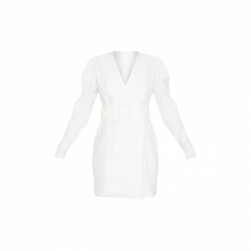 FASHIONM スリーブ ブレーザー ブレイザー ドレス 【 Prettylittlething Puff Sleeve Blazer Dress 】 White
