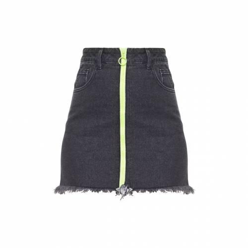 JANDB デニム レディースファッション ボトムス スカート 【 Prettylittlething Neon Zip Front Denim Skirt 】 Washed Black