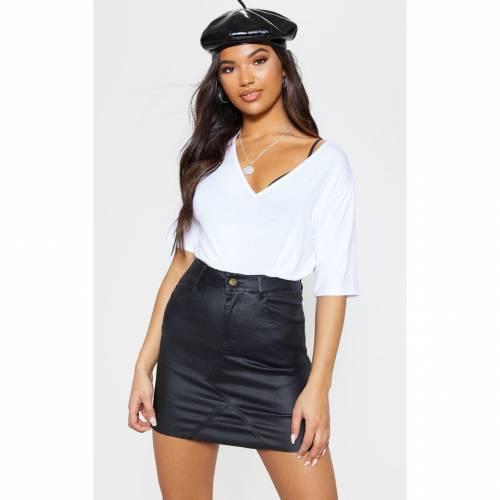99KLTD デニム レディースファッション ボトムス スカート 【 Prettylittlething Coated Denim Extreme Mini Skirt 】 Black