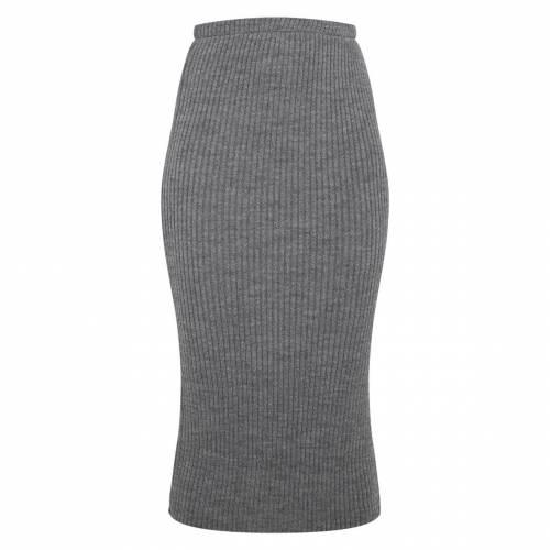 SWAGGER レディースファッション ボトムス スカート 【 Prettylittlething Ribbed Knitted Midi Skirt 】 Grey
