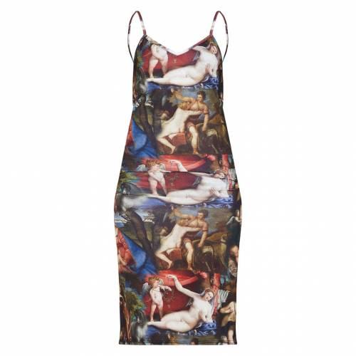 FASHPOIN 茶 ブラウン ジャージ 【 BROWN RENAISSANCE PRINT JERSEY SPLIT CAMI MIDI DRESS 】 レディースファッション ドレス
