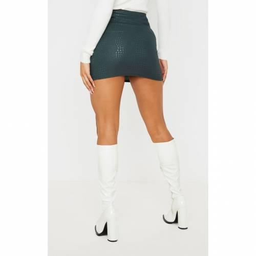 FASH 緑 グリーン 【 GREEN CROC PRINT BODYCON MINI SKIRT DARK 】 レディースファッション ボトムス スカート