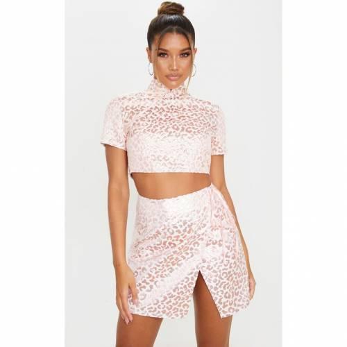 4FASHION ラップ レディースファッション ボトムス スカート 【 Prettylittlething Foil Print Oriental Wrap Detail Mini Skirt 】 Pink