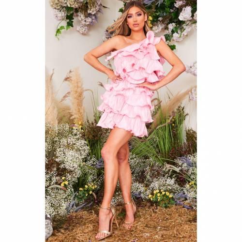 4FASHION ドレス ピンク 【 PINK 4FASHION PRETTYLITTLETHING ONE SHOULDER TIERED FRILL SHIFT DRESS 】 レディースファッション ドレス