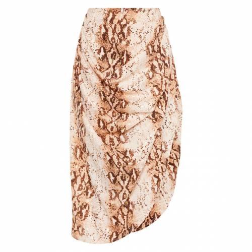 4FASHION 茶 ブラウン レディースファッション ボトムス スカート 【 Prettylittlething Brown Snake Ruched Side Midi Skirt 】 Snake Print
